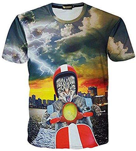 4c7881be65506d Pizoff unisex Herren T-Shirt Sommer Rundhalsausschnitt kurze Ärmel vespa  katzen Muster Spaß Hip Hop