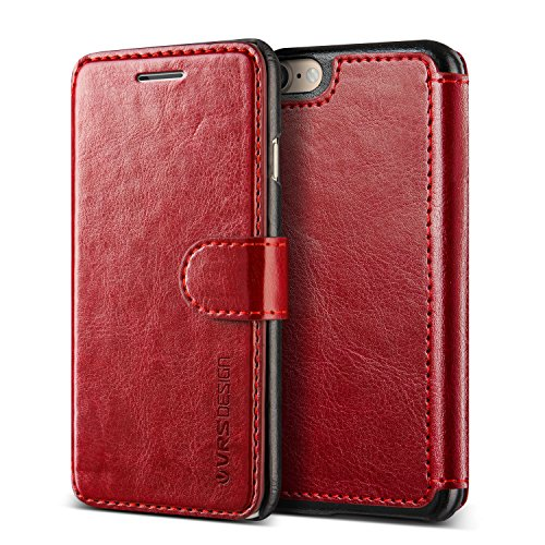 Cover iPhone 7, VRS Design [Layered Dandy][Rosso] - [Portafoglio in Pelle] [Slim fit] per Apple iPhone 7