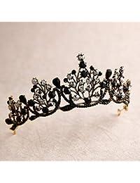 Lurrose Corona barroca de lujo Corona de cristal negro Tiara de Halloween y corona Corona de diamantes de imitación Reina (Negro)