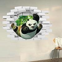 3D Panda Bamboo Forest Croce Wall Stickers per bambini Camera da letto Soggiorno Divano TV Nursery Sfondo Sticker Home Decor murale rimovibile da parati delle decalcomanie