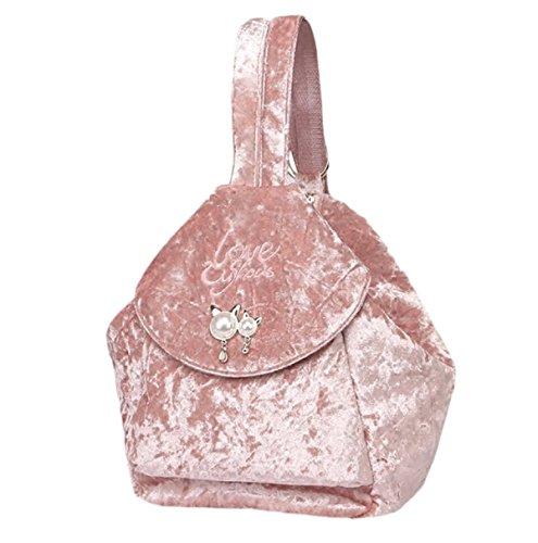Zaini Donna Borse Borse Ricamo Velluto Zaino Autunno E Inverno Spalla Diagonale Borse Di Velluto Multiuso Rosa
