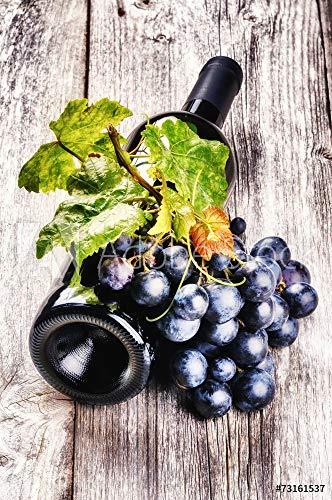 druck-shop24 Wunschmotiv: Bottle of red Wine with Fresh Grape and Grapevine #73161537 - Bild auf Leinwand - 3:2-60 x 40 cm / 40 x 60 cm