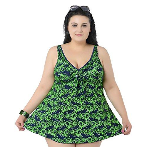 Zweiteilige Badekleid mit Hotpants Damen Figurformender Badeanzug mit Bauchweg Effekt Große Größen Bademode Grün