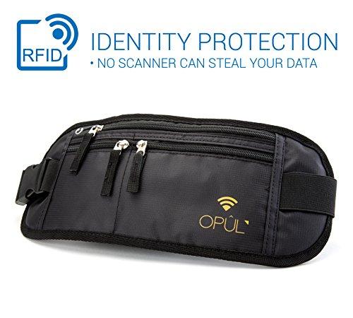 Geldgürtel - Bauchtasche - Gürteltasche - Diebstahlsichere Hüfttasche für Reisen und zur Aufbewahrung von Geld - Reisepass verstecken und sicher aufbewahren fürs Reisen, Laufen, Wandern von Opul