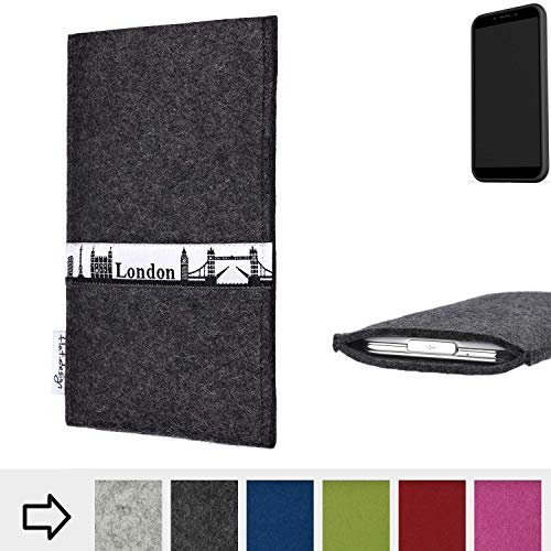 flat.design für Shift Shift6mq Schutztasche Handy Hülle Skyline mit Webband London - Maßanfertigung der Schutzhülle Handy Tasche aus 100% Wollfilz (anthrazit) für Shift Shift6mq