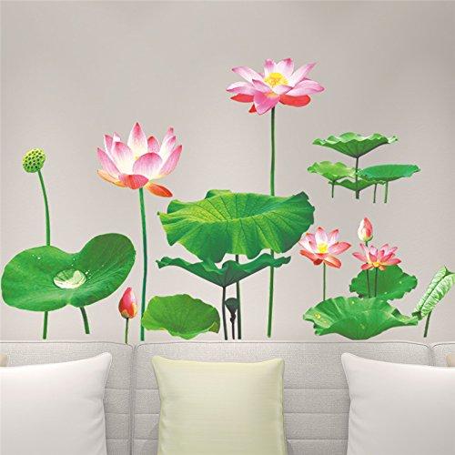 kuamai Lotus Leaf 3D-Effekt An Der Wand Aufkleber Aufkleber Fernseher Sofa Hintergrund Wohnzimmer Schlafzimmer Badezimmer Home Decor Poster Wandbild