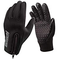 ANSUG Winter Cycling Gloves, Outdoor Windproof and Waterproof Touchscreen Gloves with Zipper for Men Women