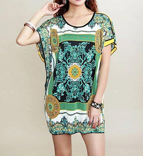 Qiyun 3008s0225–Robe pour femme Vert