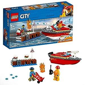 LEGO City Fire - Llamas en el Muelle, juguete creativo de aventuras de bomberos para construir, incluye barco y 2 minifiguras (LEGO 60213)