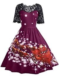 0c470b18ded095 Kolylong® Kleid damen Frauen Elegant Spitze Weihnachten Kleid Vintage  Rockabilly Kleid Retro Cocktailkleid Swing…