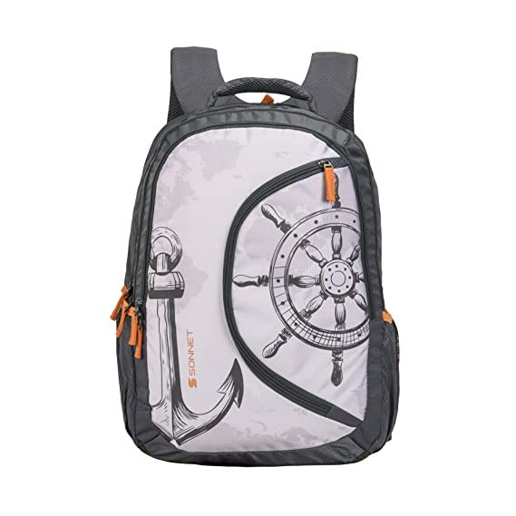 Sonnet Polyester 37 Ltr Grey School Backpack