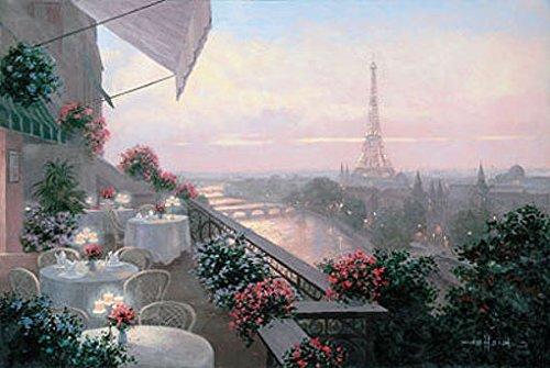 Keilrahmen-Bild - Christa Kieffer: Dinner on Terrace 60 x 80 cm
