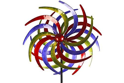 Unbekannt Doppel- Windrad Metall 60 cm Ø Tricolor 1 rot, blau & grün - 3