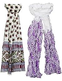 Indistar Set of 2 Premium Soft Vibrant Coloured Trendy Scarf/ Scarves / Stoles/ Dupattas