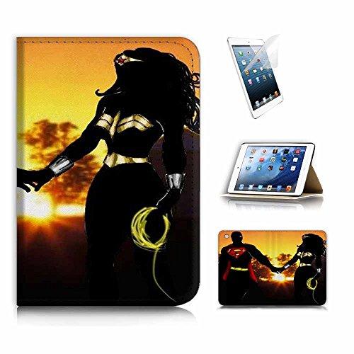 iPad Mini Gen. 123Flip Wallet Schutzhülle & Displayschutzfolie Bundle. a20295Superman Wonder Woman