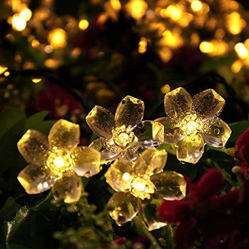 Solar Lichterkette, YUNLIGHTS 50 LED Wasserfeste Solar Blumen Lichterkette mit 8 Moden, Solar betriebene Outdoor Lichter für Weihnachts- oder Partydekorationen, Warmweiß