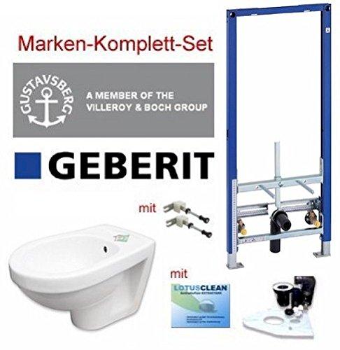 Geberit Vorwandelement Bidet Set + Gustavsberg Design Bidet + LotusClean uvm