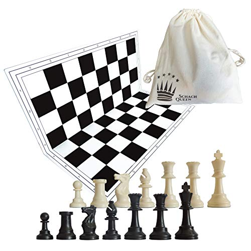 SchachQueen - Schachset - komplettes Schachspiel mit Schachbrett und Schachfiguren Plastik Feldgröße 57 mm Königshöhe 97 mm (schwarz/weiß) - Sockel Schach