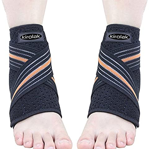 KIROLAK Ankle Support Ankle Sleeve Sleeve avec ajustable Wraps Ankle Brace Support Protector pour Basketball Running & Pain Relief Spree - Ensemble 2