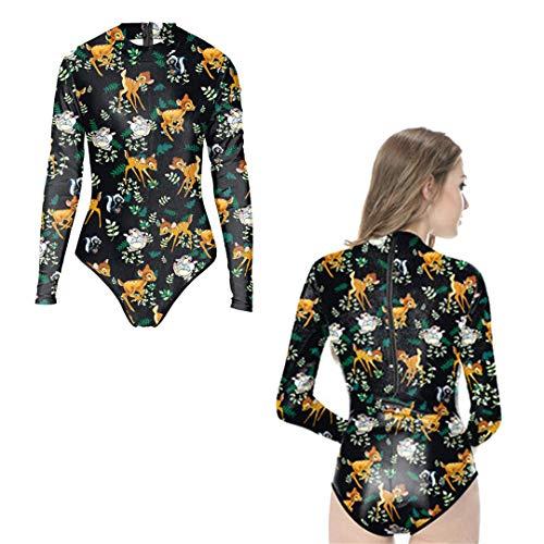 äDel-Knochen-Badebekleidung-Einteiliger Badeanzug-Lange HüLsen-Punk-Skelett-KostüMe Beachwear Y02030 One Size ()