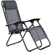 SONGMICS Tumbona de sol reclinable Silla Silla de playa para playa piscina jardín Plegable (Gris)