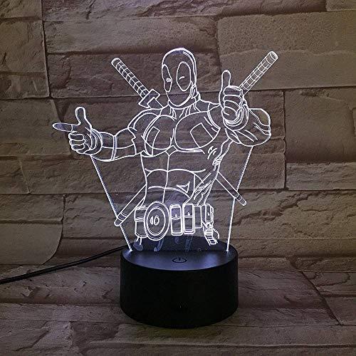 3D Illusione Lampada 3D Ottica DEADPOOL Lampada di Illuminazione Luce Notturna