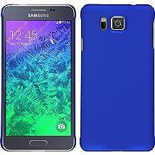 Funda Rígida para Samsung Galaxy Alpha - goma azul - Cover PhoneNatic Cubierta + protector de pantalla