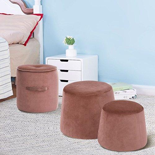 Mit drei Verschiedene Stile Fußhockeren Fußstütze osmanischen runden Stuhl Fuß Hocker mit Luxus Samt Abdeckung-Rosa