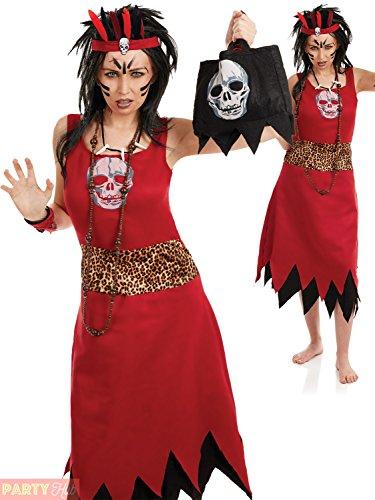 Voodoo Witch Doctor Women's Costume Halloween Fancy (Witch Dress Doctor Kostüme Fancy)
