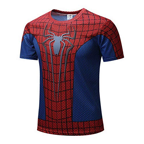 HOOLAZA Spiderman Rot Männer Kurzarm Kompression Herren T Shirt Fitness Sport - Herren T Shirt Spiderman Kostüm