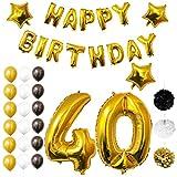 BELLE VOUS Geburtstag Happy Birthday Party Luftballons u. Dekoration 26-TLG. Set - Folienballons zum 40. Geburtstag - 30,5cm Gold, Weiß u. Schwarze Dekorative Latexballons - Für Erwachsene (Age 40)