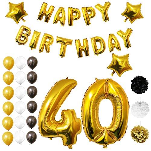 Globos Cumpleaños Happy Birthday #40, Suministros y Decoración por Belle Vous   Set 26 Piezas   Globo Grande Aluminio de 30,5cm 40 Años   Globos De Látex Dorado, Blanco y Negro   Para Adultos