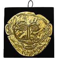 Estia Creations - Máscara de Escultura de Bronce Agamemnon, réplica de la máscara del Rey de micena