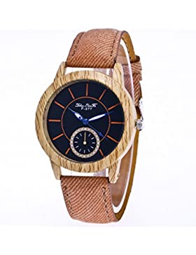 Souarts Damen Retro Holz Streifen Uhr Edelstahl Armbanduhr Blau Zeiger Quartz Analog mit Batterie