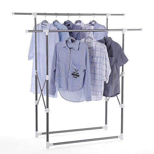 Songmics appendiabiti attaccapanni porta abiti in acciaio altezza larghezza regolabile pieghevole stand stender 2 aste, tubo rivestito di acciaio inox llr501