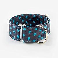 Galguita Amelie, 5cm Ancho Talla M (30cm - 39cm), Collar para Perro antiescape. Estrellas Azules.