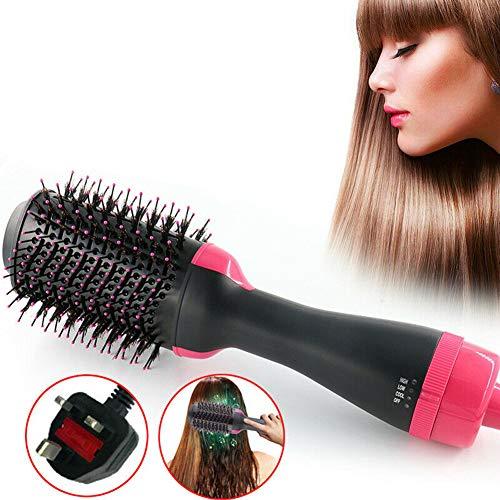 Lai-LYQ Haartrockner, Multifunktions 3 In 1 Warmluftbürste Haarglätter Heißluftbürste Hair Styler Volumizer Heißluftkamm Lockenwickler für Alle Haartypen *EU Plug
