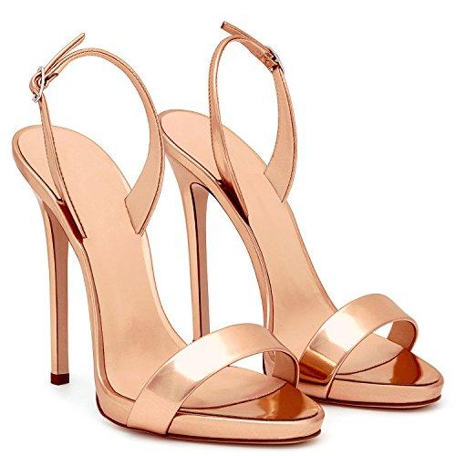 uBeauty Damen Knöchelriemchen Sandalen Mit Schnalle Peep Toe Stiletto Sexy Sandalen Große Größe Schuhe Pink