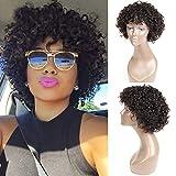 UDU Pelucas cortas de cabello humano rizado para mujeres negras, peluca delantera...