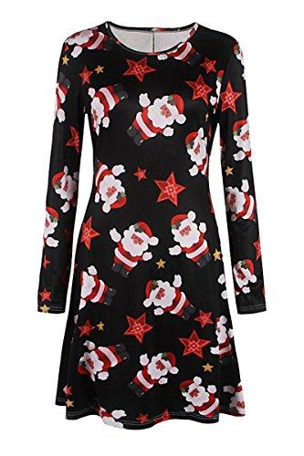 YMING Damen Langarm Kleid Lose T-Shirt Kleid Rundhals Casual Tunika Mini Kleid 14 Farben,XS-XXXXL Xmas-St.Nikolaus-Schwarz