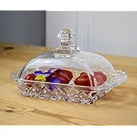 Calidad mantequillera con tapa de cristal transparente y mango patrón Base Caro