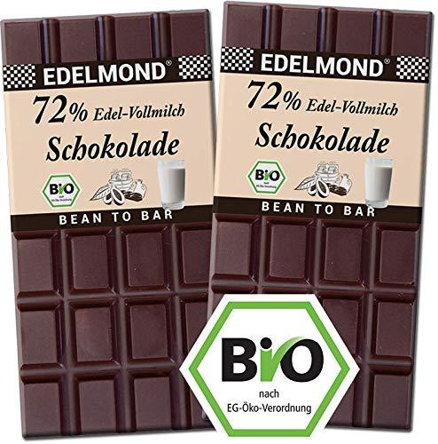 Edelmond 72{1b4719b911e397c4d71953f80d8ac0482c973fd2624164ccf9d1bac23f0b09af} Milch-Schokolade Bio, dunkle Kakaobohnen und wenig Zucker. Single Plantation. Bitter + Fair-Trade als bestes Geschenk. (2 Tafeln)