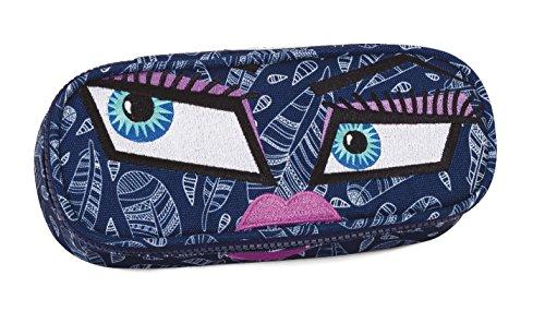 Bustina round invicta , lip pencil bag , face yap , blu , scomparto attrezzato per penne