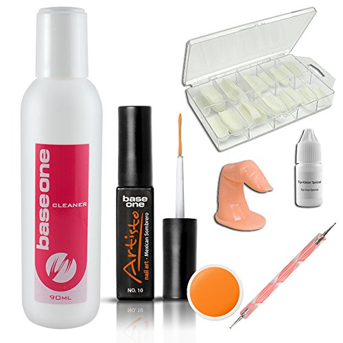 Kit de coloré Gel Artisto Gel N°10, Cleaner 100ml, Artisto Gel Nr.10 Mexican Sombrero 10 ml, Colle pour capsules, lot de 100 capsules d´ongles, doigt factice, Spotswirl), UV Gel de colour Liner Vernis Artiste, Gel UV de coloré