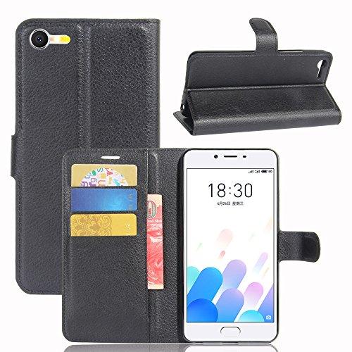 casefirst Meizu Meilan E2 Wallet Case, Meizu Meilan E2 Leather Case, Premium PU Leather Pouches Folio Stand Bumper Back Cover for Meizu Meilan E2 - Black - 7804-serie