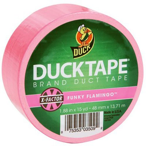 Duck Brand 868088 X-Factor Neon Colored Duct Tape, Funky Flamingo, 1.88-Inch by 15 Yards, Single Roll by Duck