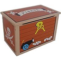 Caja de juguetes de madera, diseño de cofre del tesoro pirata