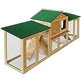 Gabbia per conigli conigliera pollaio con tetto xxl da esterno in legno componibile 204X45X84h cm