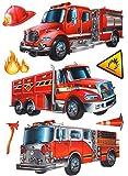 7 tlg. Set: XL 3-D ! Wandtattoo / Fensterbild / Sticker - Feuerwehr - wasserfest beschichtet - selbstklebend Pop-Up Aufkleber Wandsticker - Feuerwehrauto - aus Folie / Feuerwehrmann Auto - z.B. für Bad / Badezimmer