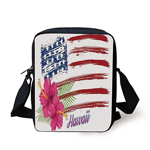 ag Theme Stars and Stripes Hibiscus Leaves Hawaii USA Patriotic Art,Fuchsia Navy Print Kids Crossbody Messenger Bag Purse ()